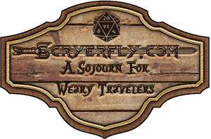 Scryerfly.com: A sojourn for weary travelers on a tavern sign highlighted by a d20